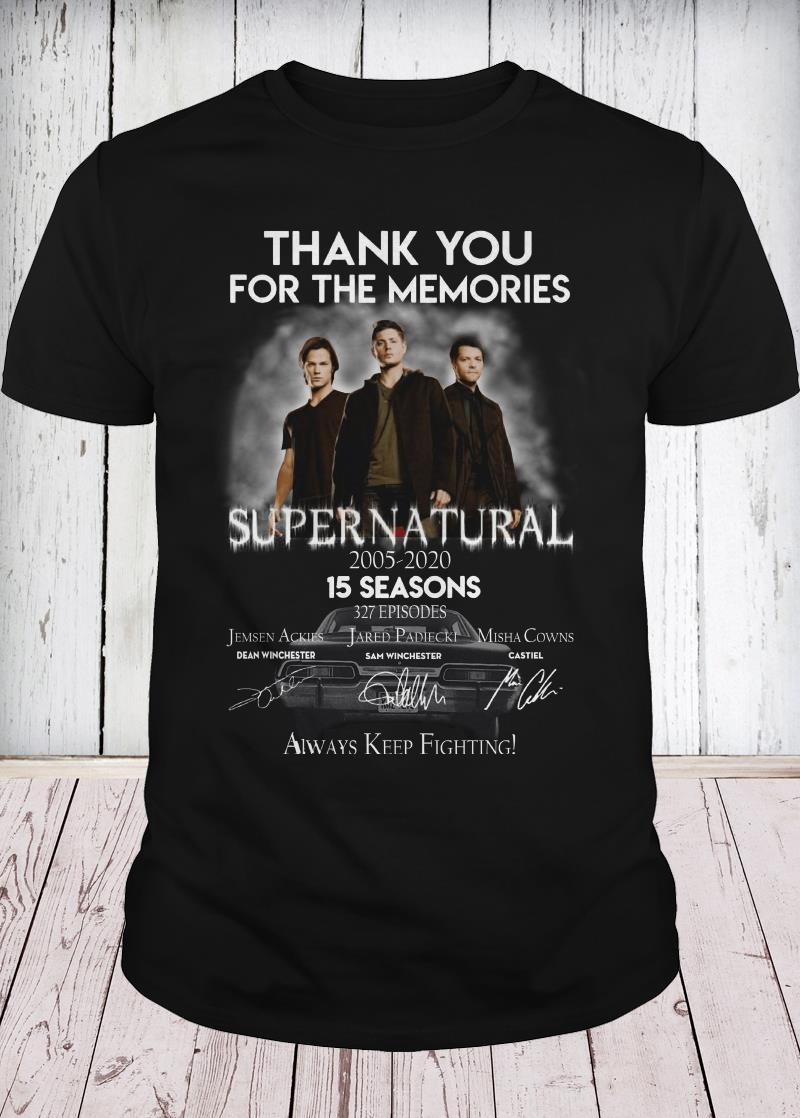 Thank you for the memories supernatural 15 seasons all signature youth tee