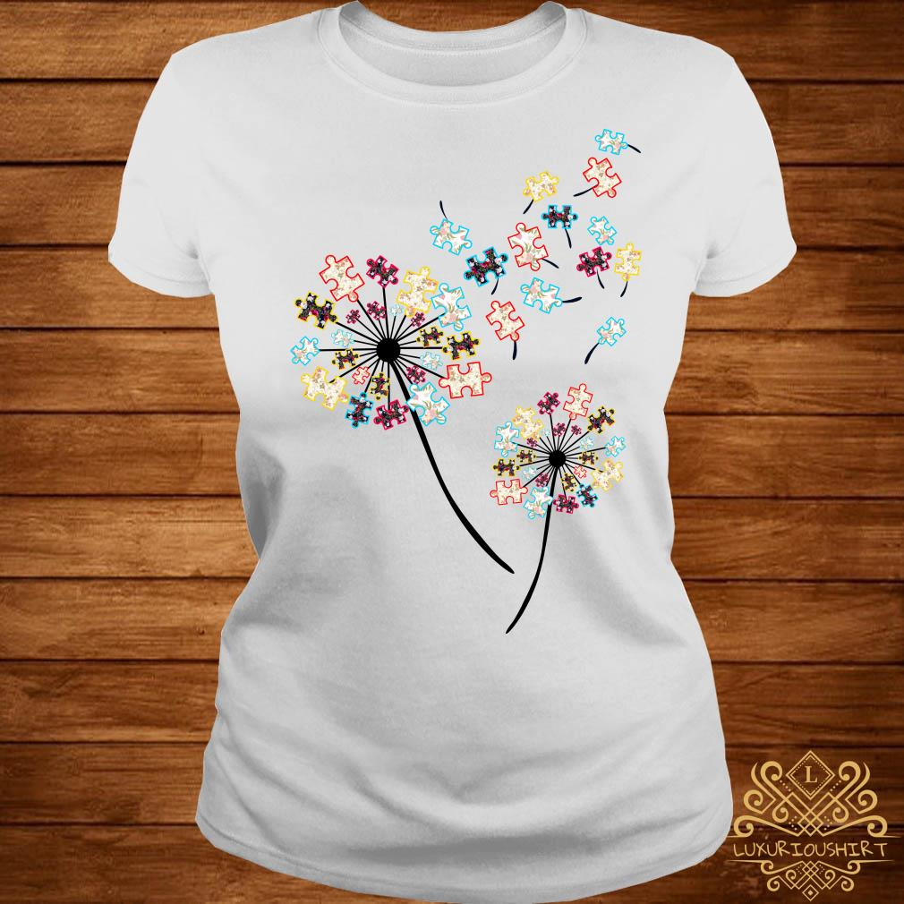 Dandelion puzzle pieces autism awareness ladies tee