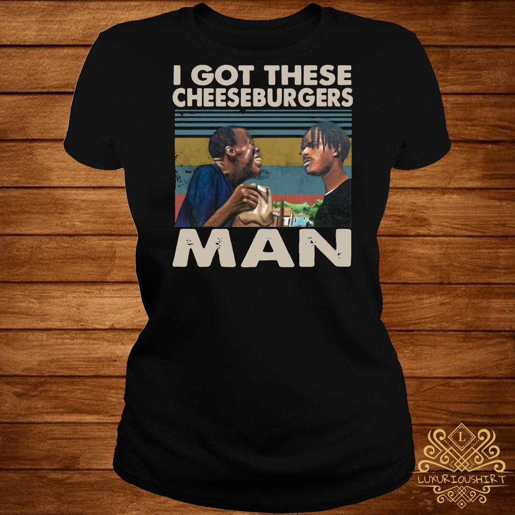 I got these Cheeseburgers man vintage ladies tee