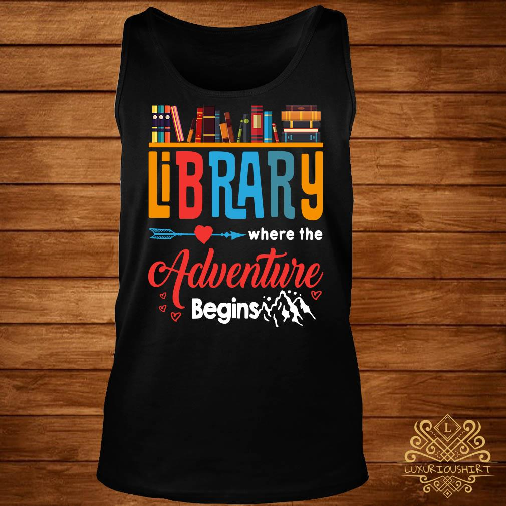 Library where the adventure begins tank-top