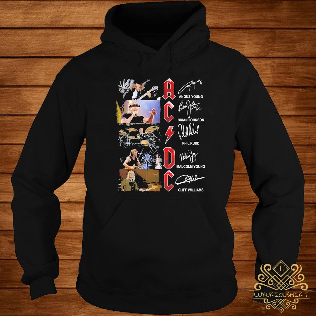 ACDC Angus Young Brian Johnson Phil Rudo Malcolm Young Cliff Williams Signatures Shirt hoodie