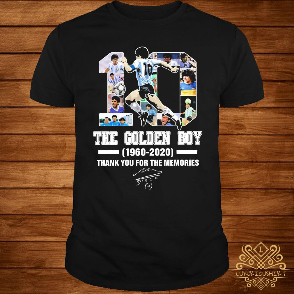 Diego Maradona 10 The Golden Boy 1960 2020 Thank You For The Memories Signature Shirt