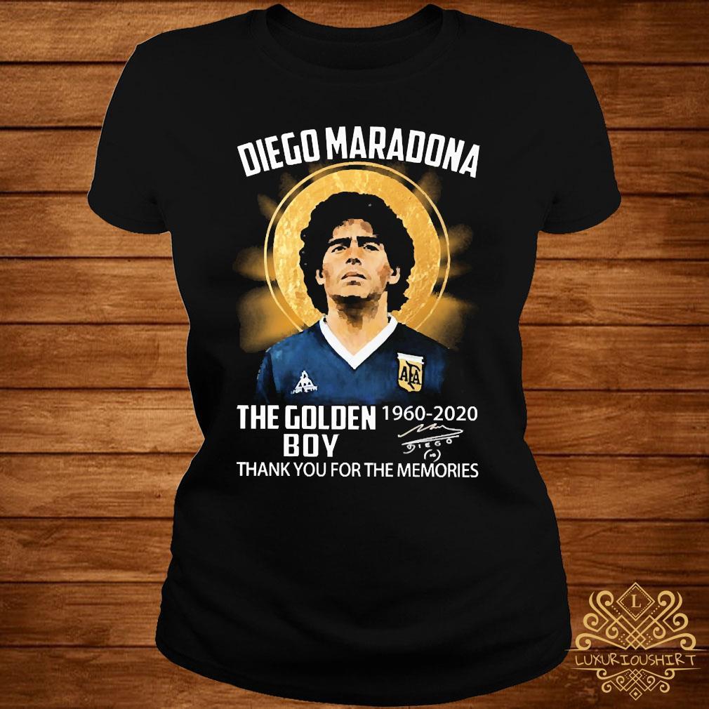 Diego Maradona The Golden Boy 1960 2020 Thank You For The Memories Signature Shirt ladies-tee