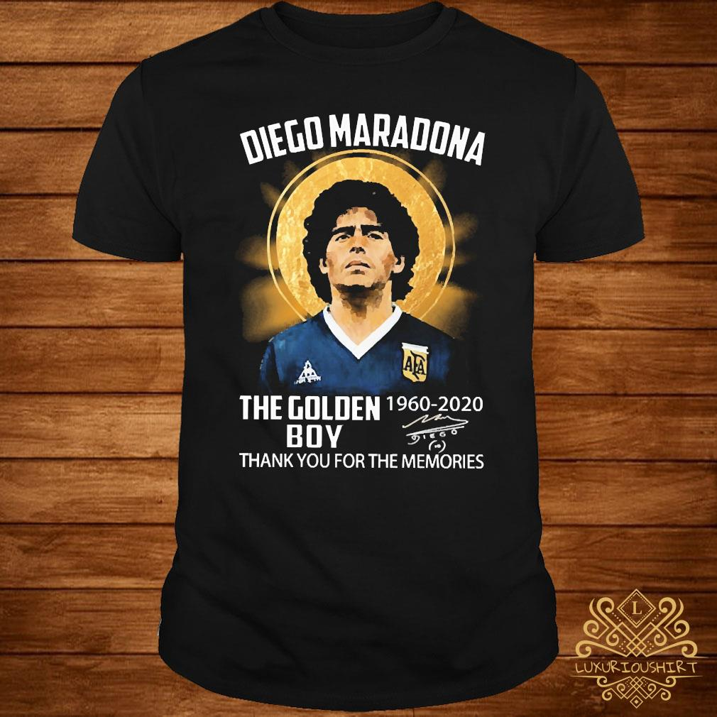 Diego Maradona The Golden Boy 1960 2020 Thank You For The Memories Signature Shirt