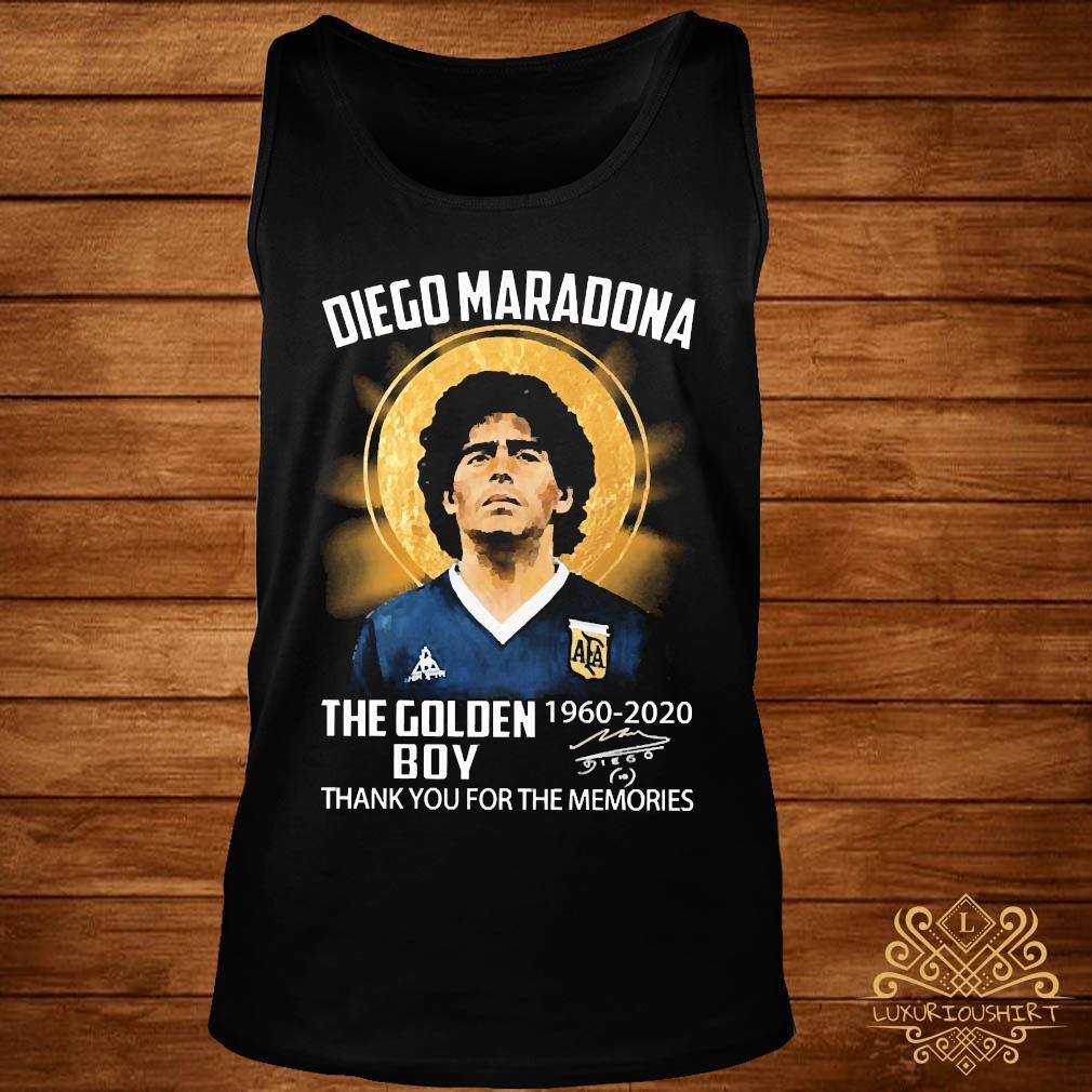 Diego Maradona The Golden Boy 1960 2020 Thank You For The Memories Signature Shirt tank-top