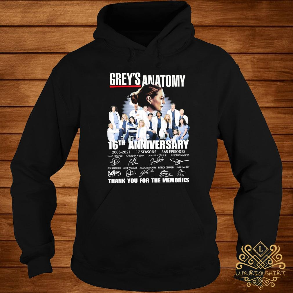 Grey's Anatomy 16th Anniversary 2005 2021 Thank You For The Memories Signatures Shirt hoodie