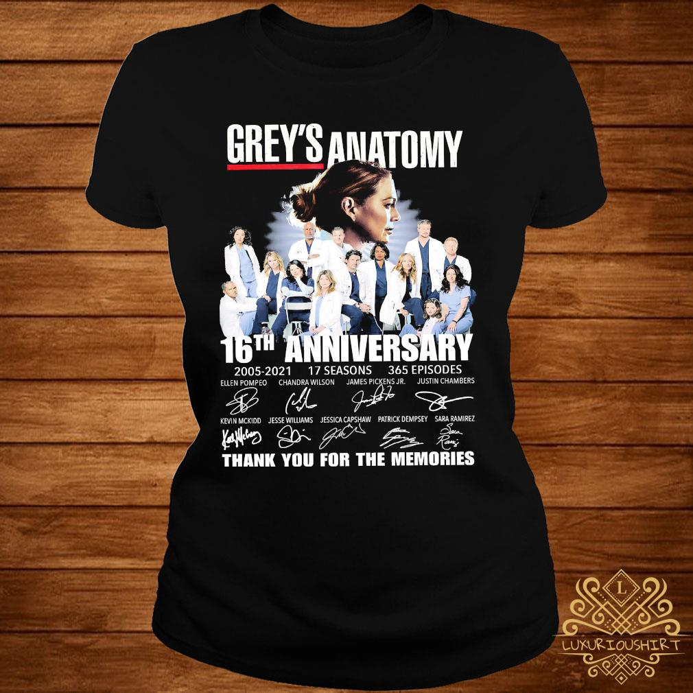 Grey's Anatomy 16th Anniversary 2005 2021 Thank You For The Memories Signatures Shirt ladies-tee