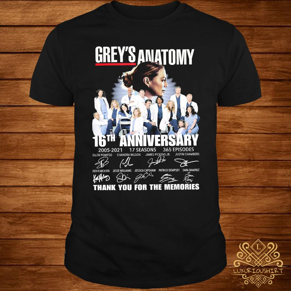 Grey's Anatomy 16th Anniversary 2005 2021 Thank You For The Memories Signatures Shirt