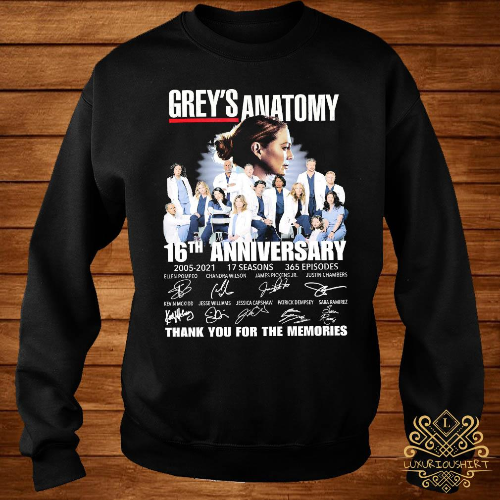 Grey's Anatomy 16th Anniversary 2005 2021 Thank You For The Memories Signatures Shirt sweater