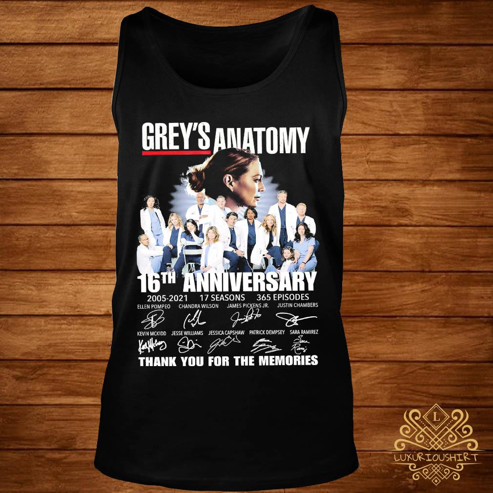 Grey's Anatomy 16th Anniversary 2005 2021 Thank You For The Memories Signatures Shirt tank-top