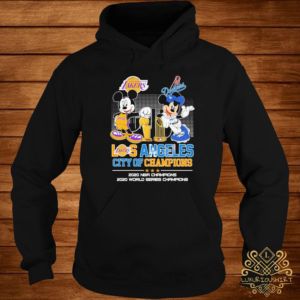 Mickey Mouse Los Angeles Lakers And Dodgers City Of Champions 2020 Nba Champions Shirt hoodie