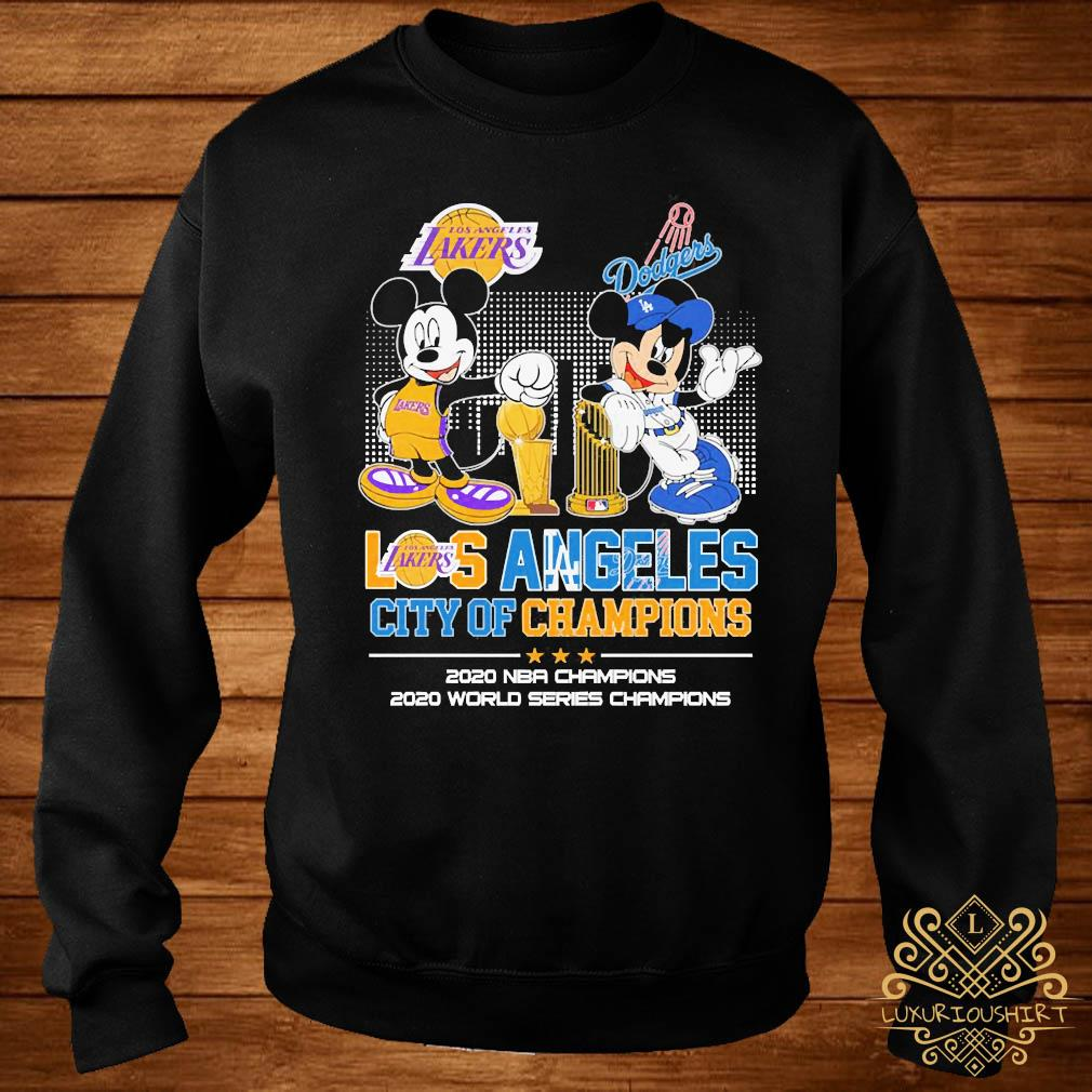 Mickey Mouse Los Angeles Lakers And Dodgers City Of Champions 2020 Nba Champions Shirt sweater