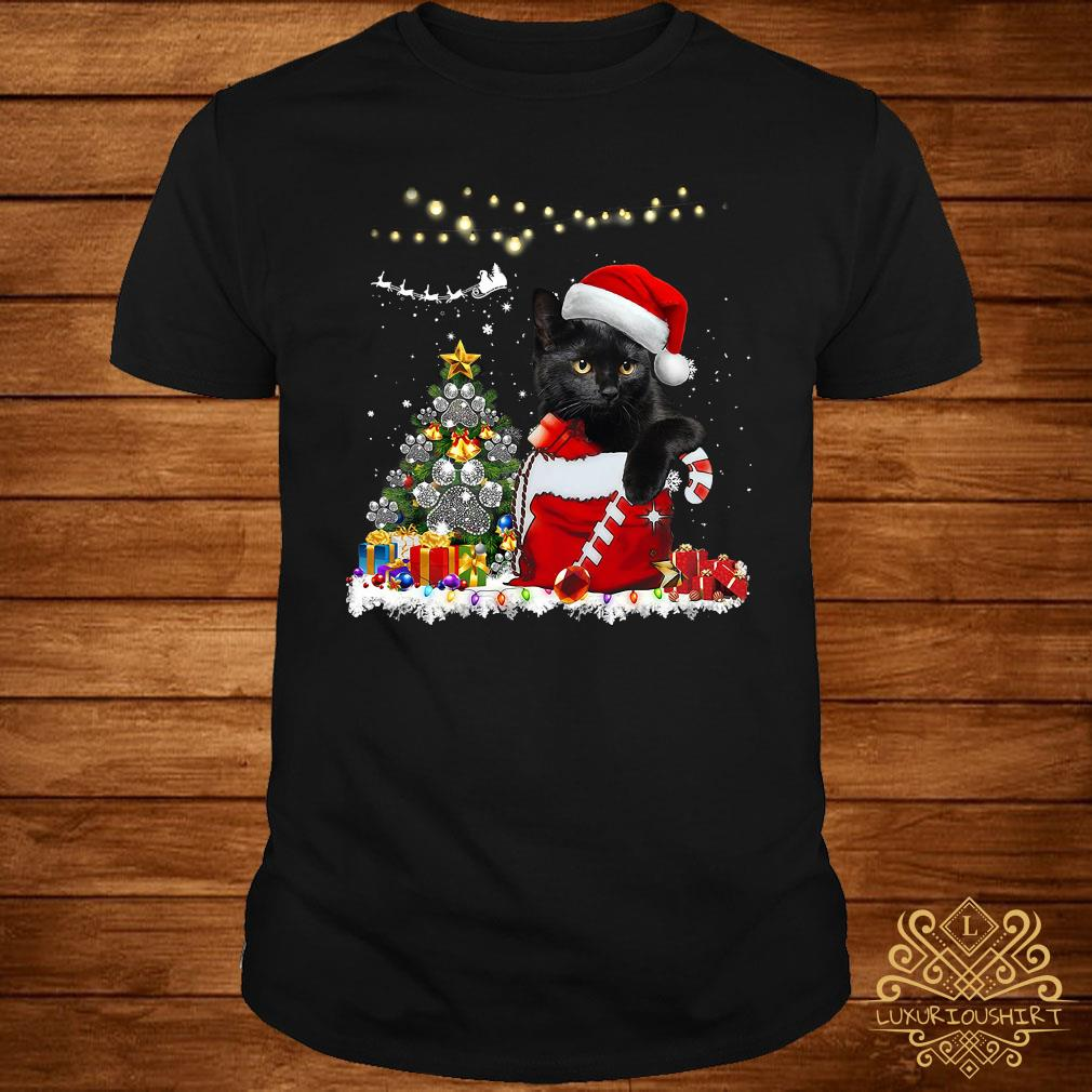 Santa Black Cat Christmas Shirt