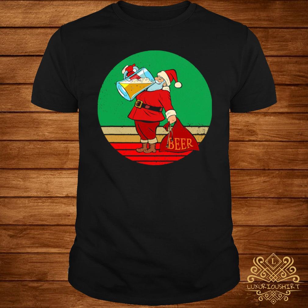 Santa Drinking Beer Matching Family Christmas Shirt