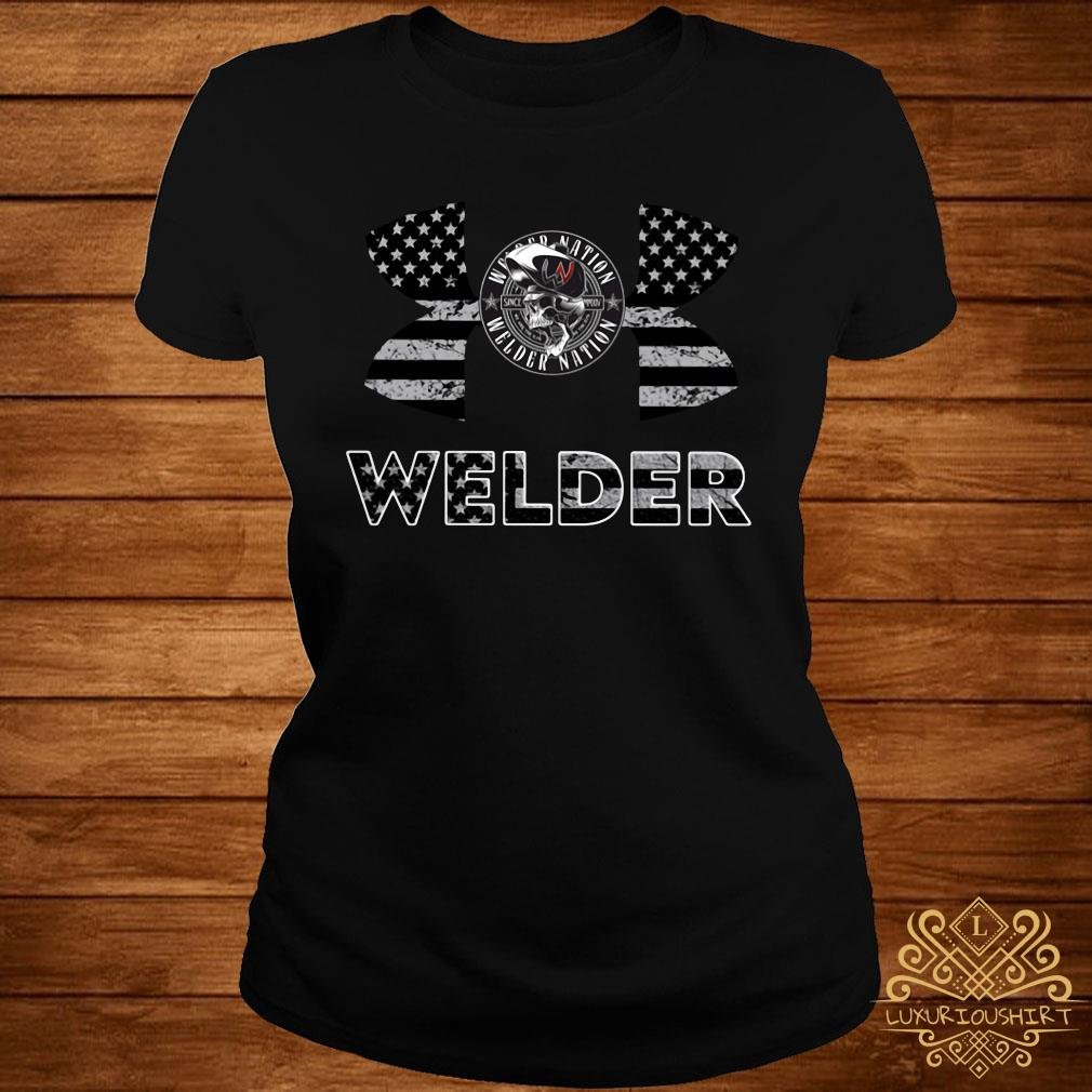 Under Armour Welder American Flag Shirt ladies-tee